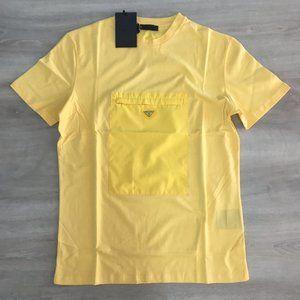 """Prada Zipped Gabardine Yellow Kangroo T-shirt """"M"""